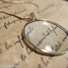"1 3/4"" Vintage Antique Style, Brass Magnifying Glass Pendant Necklace"