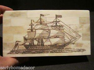 Antique Style Folk Art Sail Ship Scrimshaw Etched Bone & Wood Trinket Box