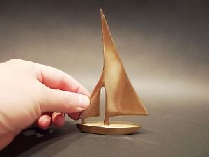 """5"""" Vintage Antique Style Brass Nautical Sail Boat Paperweight"""