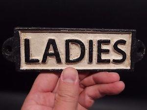 Vintage Antique Style Cast Iron Bathroom Womens Ladies Girls Sign