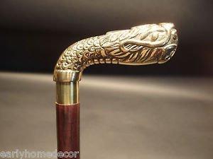 Vintage Antique Style Brass, Wood Victorian Walking Stick Cane