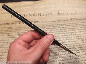 Vintage Antique Style Turned Black Horn Calligraphy Inkwell Ink Dipping Pen