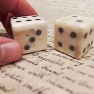 "2 1"" Antique Style Genuine Bone Gambling Handmade Dice Inlaid Pips Casino Game"