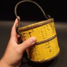 Primitive Antique Style Colonial Wood Berry Bucket Iron Handle old Yellow Paint