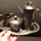 Antique Vintage Style Tin Coffee Tea Set Primitive Pewter Color Small Size