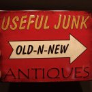 Antique Vintage Style Metal Useful Junk Old N New Antiques Sign