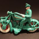Antique Vintage Style Green Cast Iron Toy Motorcycle Police Rider Cop