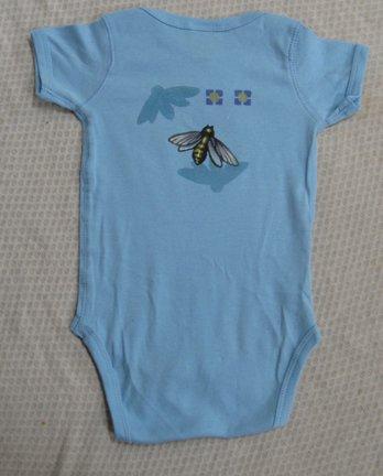 MaxEquations Onesie - Blue Organic Cotton with Bugs Art  - Newborn*