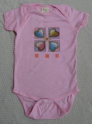 MaxEquations Onesie - Pink Organic Cotton with Hearts Art  - Newborn*