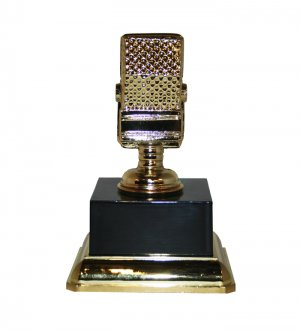 """Metal Microphone Trophy 7"""" Tall - 3446"""