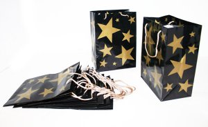 """Set of 12 Gold Stars Gift Bags with gold toned cord handles 8 x 11"""" - 6078dz"""