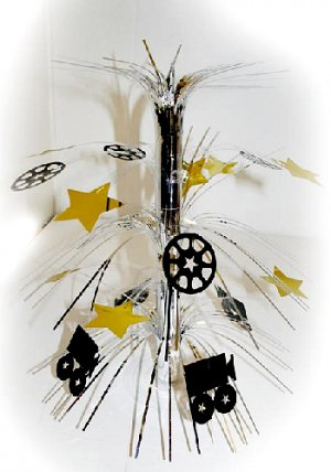 "Hollywood Movie camera, Reels, Stars Cascade Centerpiece 18"" - 8372"