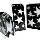 "Set of 12 Silver Stars Gift Bags with Silver toned cord handles 8 x 11"" - 6079dz"