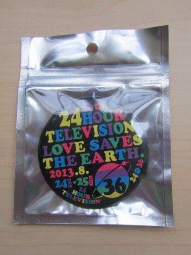 ARASHI 24 HOUR HR TV TELEVISION 2013 OFFICIAL GOOD CAN BADGE BLACK NEW