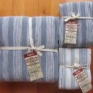 JAPAN MUJI COTTON FITTED BED SHEET 4 PILLOW CASE DOUBLE BLUE WHITE STRIPE NEW