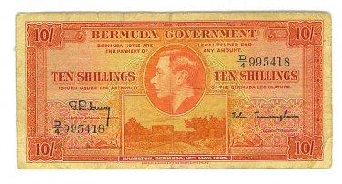 1937 Bermuda Government 10 Shillings Note - ED305