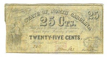 1866 State of North Carolina 25 Cent Note - ED310
