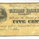 1862 5 cent Merchant's Scrip - Civil War Era - A. M. Utley - Watertown, New York - ED312