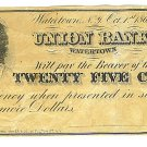 1862 25 cent Merchant's Scrip - Civil War Era - A. M. Utley - Watertown, New York - ED315