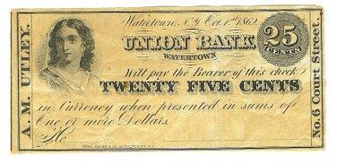1862 25 cent Merchant's Scrip - Civil War Era - A. M. Utley - Watertown, New York - ED315