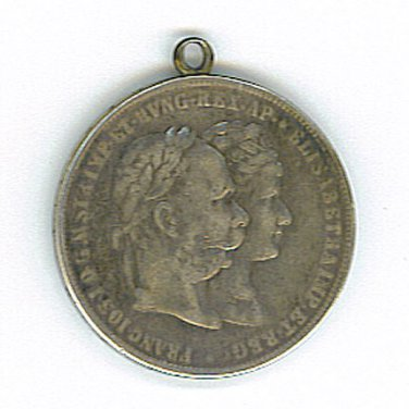 1879 Austria 2 Gulden Marriage Jubilee Silver Coin / Medallion - ED610
