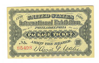 1876 International Exhibition Ticket Philadelphia, PA