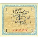 WW II Allied Military Currency - ITALY - 1 Lira with Army Examiner Stamp
