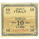 WW II Allied Military Currency - ITALY - 10 Lire