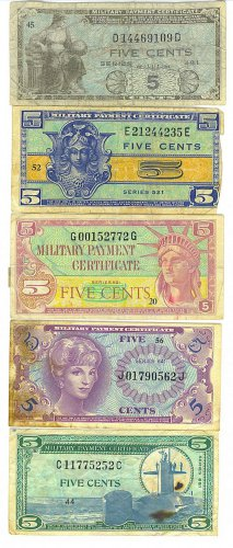 US Military Payment Certificates - Group of 5 - 5 Cent Notes