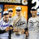 YANKEES CORE 4 SIGNED PHOTO 8X10 RP AUTOGRAPHED JORGE POSADA ANDY PETTITTE ++