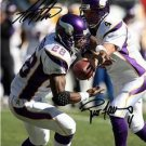 ADRIAN PETERSON BRETT FAVRE SIGNED PHOTO 8X10 RP AUTO VIKINGS