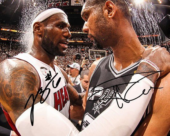 * TIM DUNCAN LEBRON JAMES SIGNED PHOTO 8X10 RP AUTOGRAPHED SAN ANTONIO SPURS