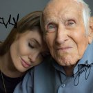 LOUIS ZAMPERINI & ANGELINA JOLIE SIGNED PHOTO 8X10 RP NEW MOVIE UNBROKEN