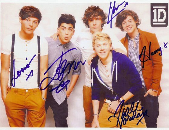 ONE DIRECTION FULL GROUP SIGNED AUTOGRAPHED POSTER PHOTO RP 8X10 HARRY STYLES ++