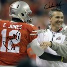 CARDALE JONES & URBAN MEYER SIGNED PHOTO 8X10 RP AUTOGRAPHED OHIO STATE BUCKEYES FOOTBALL