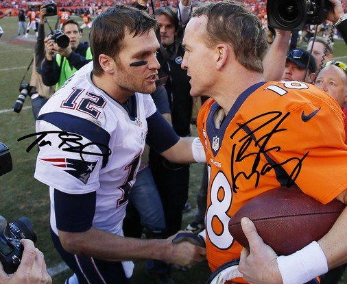 Tom Brady Amp Peyton Manning Signed Photo 8x10 Rp