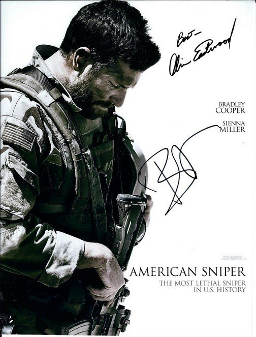 CLINT EASTWOOD BRADLEY COOPER DUAL SIGNED PHOTO 8X10 RP AUTOGRAPHED AMERICAN SNIPER MOVIE