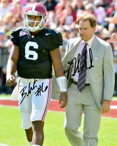 NICK SABAN BLAKE SIMS SIGNED PHOTO 8X10 RP AUTOGRAPHED ALABAMA FOOTBALL !