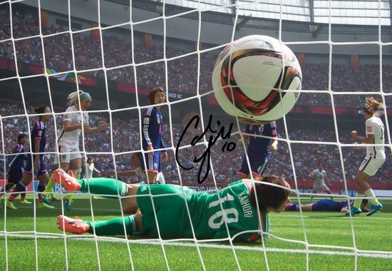 CARLI LLOYD SIGNED PHOTO 8X10 RP AUTOGRAPHED USA WOMENS WORLD CUP SOCCER HALF FIELD GOAL