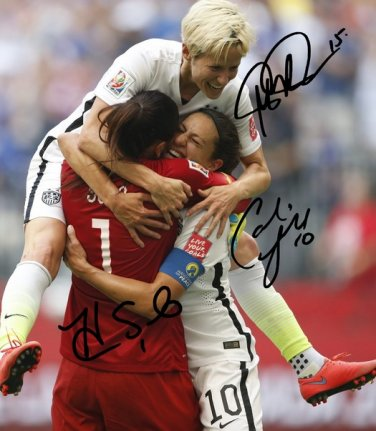 CARLI LLOYD HOPE SOLO & MEGAN RAPINOE SIGNED PHOTO 8X10 RP AUTOGRAPHED FIFA WORLD CUP WOMENS SOCCER