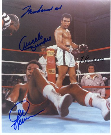 MUHAMMAD ALI GEORGE FOREMAN SIGNED PHOTO 8X10 RP AUTOGRAPH RUMBLE IN THE JUNGLE
