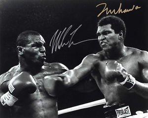 MUHAMMAD ALI VS MIKE TYSON SIGNED PHOTO 8X10 RP AUTOGRAPHED BOXING LEGENDS