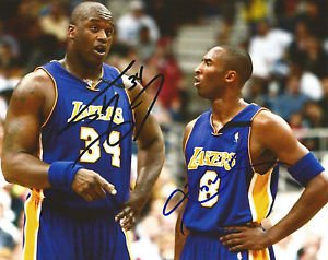 KOBE BRYANT SHAQUILLE O'NEAL SIGNED PHOTO 8X10 RP AUTOGRAPHED LAKERS