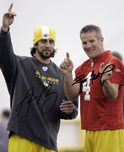 AARON RODGERS BRETT FAVRE SIGNED PHOTO 8X10 RP AUTOGRAPHED GREEN BAY PACKERS
