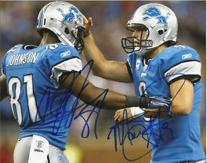 CALVIN JOHNSON MATTHEW STAFFORD SIGNED PHOTO 8X10 RP AUTOGRAPHED DETROIT LIONS