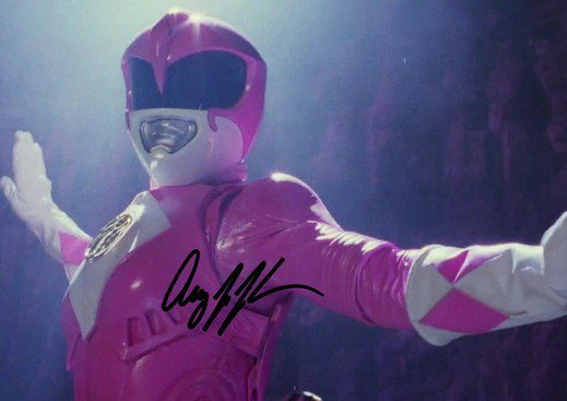 * AMY JO JOHNSON SIGNED PHOTO 8X10 RP AUTOGRAPHED PINK POWER RANGER KIMBERLY