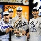 THE CORE FOUR SIGNED PHOTO 8X10 RP AUTO MARIANO RIVERA DEREK JETER JORGE POSADA
