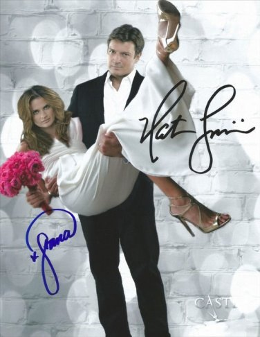 STANA KATIC & NATHAN FILLION SIGNED PHOTO 8X10 RP AUTOGRAPHED CASTLE CAST