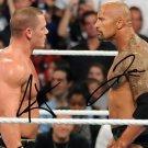 THE ROCK DWAYNE JOHNSON JOHN CENA SIGNED PHOTO 8X10 RP AUTOGRAPH WWE WRESTLING
