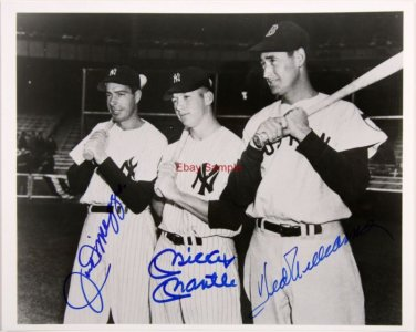 JOE DIMAGGIO MICKEY MANTLE TED WILLIAMS SIGNED PHOTO 8X10 RP AUTOGRAPHED YANKEES